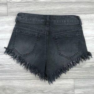Black Distressed Shorts, Size 26